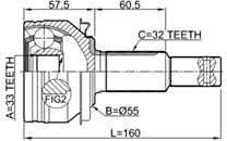 0210-L33 - OUTER CV JOINT 33X55X32