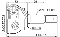 0210-V42 - OUTER CV JOINT 36X56X29