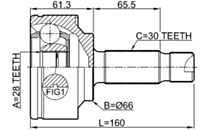 1610-639 - OUTER CV JOINT 28X66X30