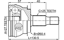 1610-W245 - OUTER CV JOINT 27X60.4X25